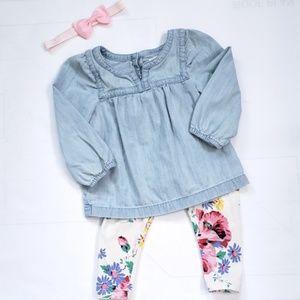 Baby Gap Chambray Blouse & Floral Leggings 12-18M